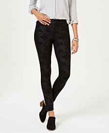 Style & Co Coated Ponté Knit Patterned Leggings, Created for Macy's