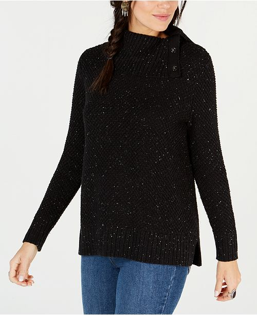 Style & Co Petite Envelope-Neck Tweed Sweater, Created for Macy's