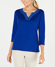 Karen Scott Cotton Crochet-Trim Split-Neck Top, Created for Macy's