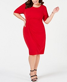 Plus Size Solid Sarong Dress