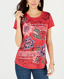 Style & Co Graphic-Flower Print Top, Created for Macy's
