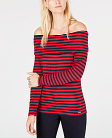Tommy Hilfiger Striped Off-The-Shoulder Top, Created for Macy's