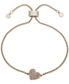 DKNY Pavé Heart Slider Bracelet, Created for Macy's