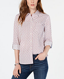 Tommy Hilfiger Cotton Star-Print Button-Up Shirt, Created for Macy's