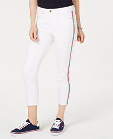 Tommy Hilfiger Varsity-Stripe Cropped Skinny Jeans, Created for Macy's