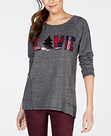 Style & Co Petite Love Graphic-Print Sweatshirt, Created for Macy's