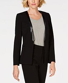 Kasper Shawl-Collar Jacket With Faux-Leather Trim