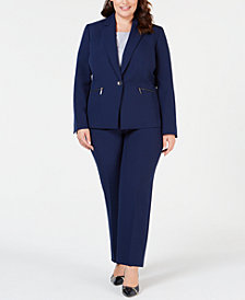 Le Suit Plus Size Zipper-Jacket Pantsuit