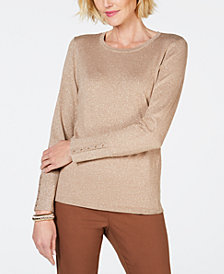 JM Collection Studded Metallic Sweater, Created for Macy's