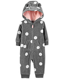 Carter's Baby Girls Hooded Dot-Print Fleece Coverall
