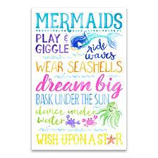 Mermaid Typography Printed Canvas