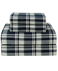Winter Nights Cotton Flannel King Print Sheet Set