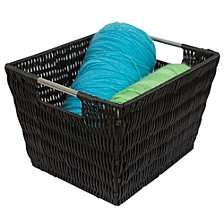 Home Basics Medium Intricate Decorative Weave Plastic Basket