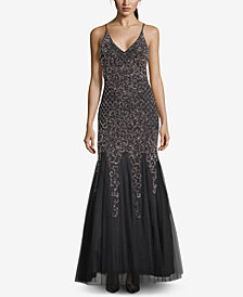 XSCAPE Beaded Tulle-Skirt Gown