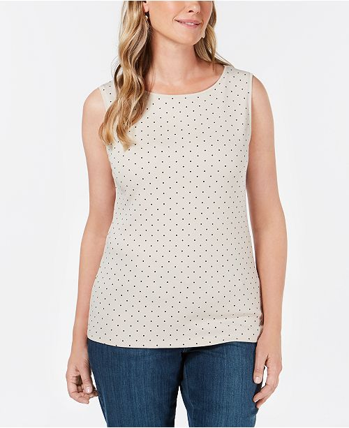 Karen Scott Petite Cotton Dot-Print Boat-Neck Top, Created for Macy's