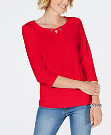 Karen Scott Hardware Keyhole 3/4-Sleeve Top, Created for Macy's