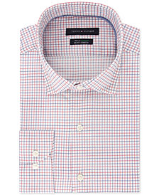 Tommy Hilfiger Men's Big & Tall Classic/Regular Fit TH Flex Stretch Non-Iron Blue Check Dress Shirt