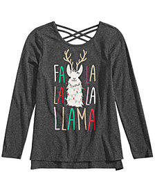Epic Threads Big Girls Llama Holiday T-Shirt, Created for Macy's
