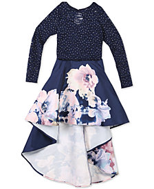 Speechless Big Girls 2-Pc. Glitter-Lace Top & Floral-Print Skirt Set