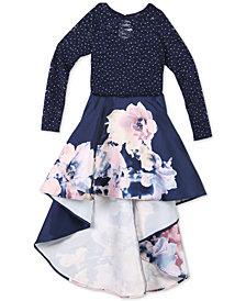 Speechless Big Girls 2-Pc. Glitter-Lace Top & Floral-Print Skirt Set