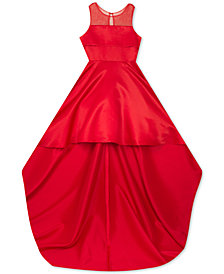 Rare Editions Big Girls High-Low Hem & Train Satin Dress