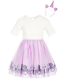 Pink & Violet Little Girls 2-Pc. Unicorn Dress & Headband Set