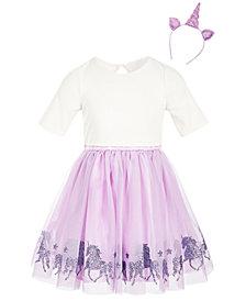 Pink & Violet Toddler Girls 2-Pc. Unicorn Dress & Headband Set