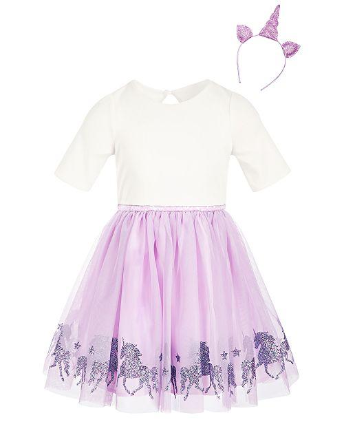98f022438056d ... Pink & Violet Toddler Girls 2-Pc. Unicorn Dress & Headband ...