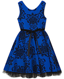 Rare Editions Little Girls Flocked Scuba Dress