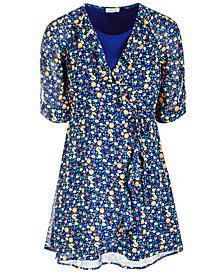 Monteau Big Girls Floral-Print Wrap Dress