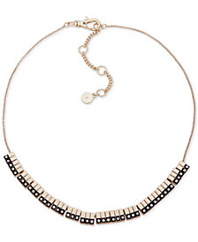 "DKNY Two-Tone Pavé Bar Collar Necklace, 16"" + 3"" extender"
