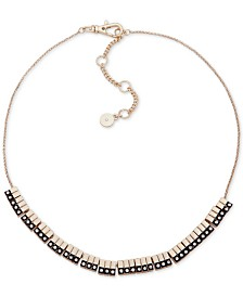 "DKNY Two-Tone Pavé Bar Collar Necklace, Created for Macy's , 16"" + 3"" extender"