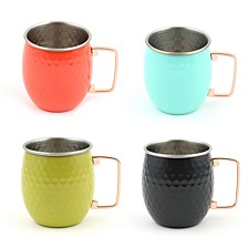 18-Ounce Hammered Moscow Mule Mugs, Set of 4 - Poppy, Turquoise, Slate, and Lemongrass