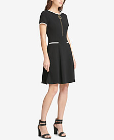 DKNY Zip-Up Scuba Fit & Flare Dress, Created for Macy's