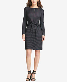 DKNY Pinstriped Twist-Front Sheath Dress, Created for Macy's