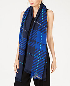 Eileen Fisher Recycled Cotton Plaid Fringe-Trim Scarf, Created for Macy's