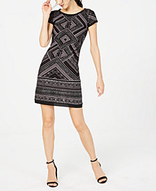 Vince Camuto Glitter-Print Shift Dress