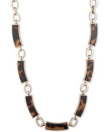 """Lauren Ralph Lauren Gold-Tone Link & Tortoiseshell-Look Collar Necklace, 16"""" + 3"""" extender"""