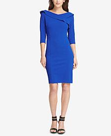 DKNY Ruffled Scuba Sheath Dress, Created for Macy's