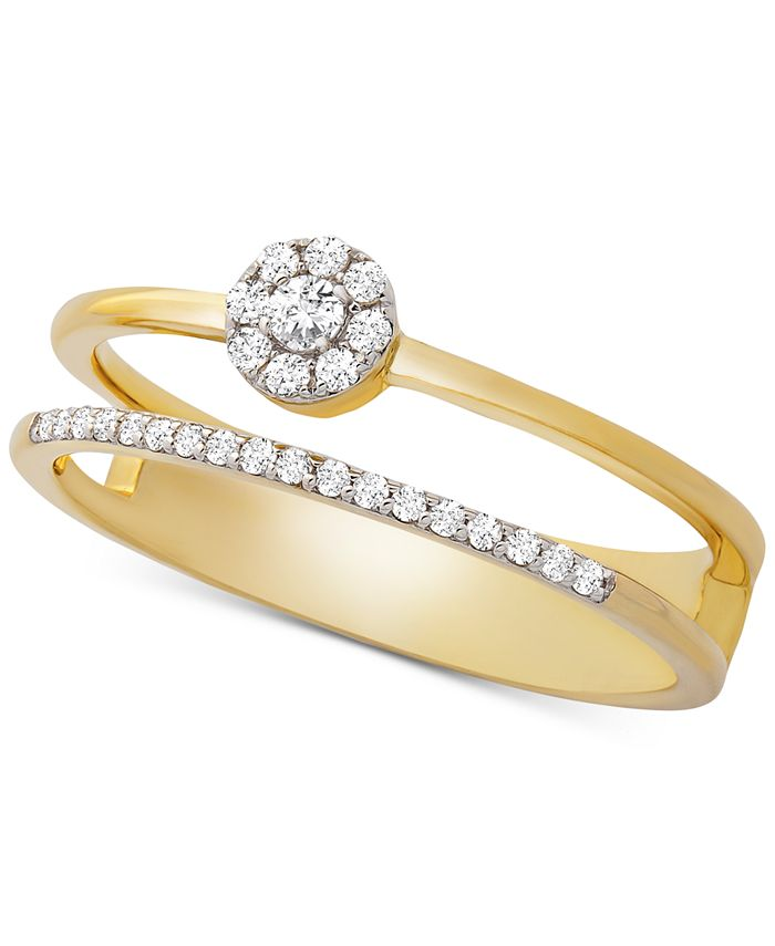Wrapped - Diamond Cluster Double Ring (1/6 ct. t.w.) in 14k Gold