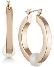 Lauren Ralph Lauren Gold-Tone Imitation Pearl Hoop Earrings