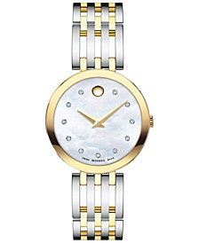 Women's Swiss Esperanza Diamond-Accent Two-Tone PVD Stainless Steel Bracelet Watch 28mm
