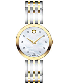 Movado Women's Swiss Esperanza Diamond-Accent Two-Tone PVD Stainless Steel Bracelet Watch 28mm