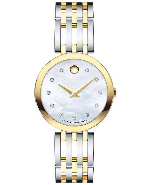 Movado Women's Swiss Esperanza Diamond-Accent Two-Tone PVD Stainless Steel Bracelet Watch 28mm