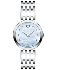 Movado Women's Swiss Esperanza Diamond-Accent Stainless Steel Bracelet Watch 28mm