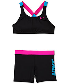 Nike Big Girls 2-Pc. Rift Prism Crossback Sport Bikini & Short Set