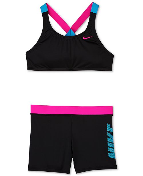 fcb7160a28 ... Set; Nike Big Girls 2-Pc. Rift Prism Crossback Sport Bikini & Short ...