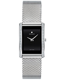 Women's Swiss La Nouvelle Diamond (1/6 ct. t.w.) Stainless Steel Bracelet Watch 21x29mm