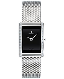 Movado Women's Swiss La Nouvelle Diamond (1/6 ct. t.w.) Stainless Steel Bracelet Watch 21x29mm