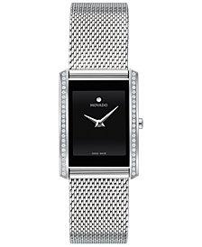 Movado Women's Swiss La Nouvelle Diamond (1/6 ct. t.w.) Stainless Steel Bracelet Watch 21x29mm